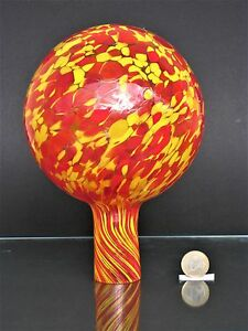 Rosenkugel aus Glas orange mit Silbernetzdekoration ø15cm