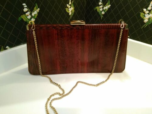 Vintage BROWN GENUINE SNAKESKIN LEATHER HANDBAG SN