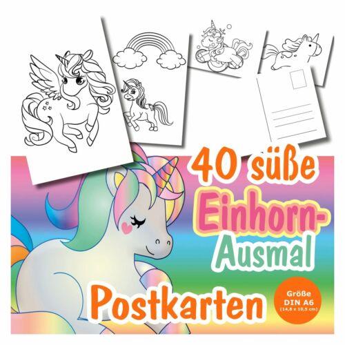 40 Postkarten Ausmalen Einhorn Einhörner Regenbogen Kinder Mädchen Grußkarte TOP