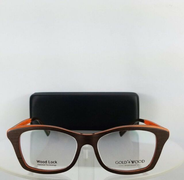 60aad91e2ff9 Authentic Gold and Wood Electra 02 52mm Brown Orange Frame for sale online