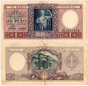 Argentina-1-Peso-P-260b-1952-El-Banco-Central-VF