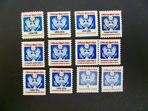 USA-Lot-of-12-Official-Stamps-from-1983-1989-Issues-See-Description-amp-Images