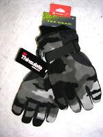 Tek Gear Youth Greys & Black Camouflage Microfleece Gloves Size 4 - 7