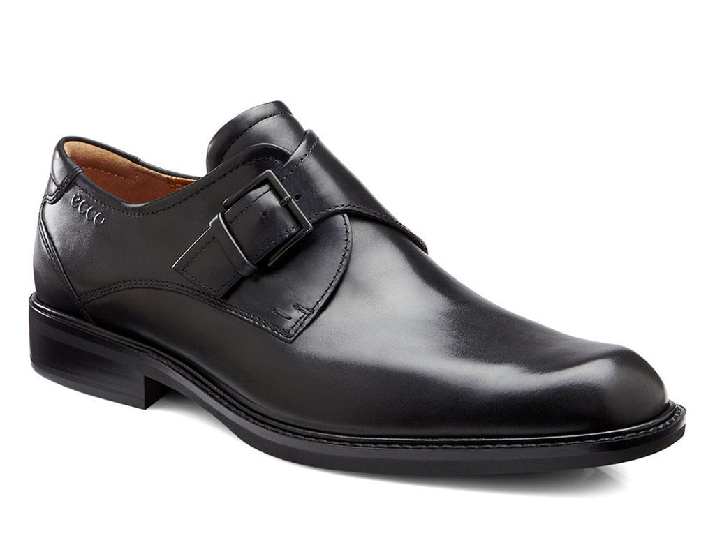 ECCO Men's Windsor Plain Toe Buckle Black Leather Oxford