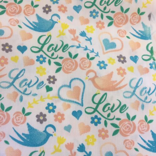 Ivory Love Hearts Birds /& Floral Printed 100/% Craft Cotton Fabric.