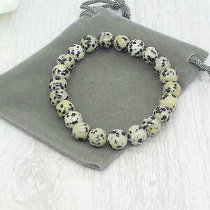 Handmade Natural Dalmation Jasper Gemstone Stretch Bracelet & Velvet Pouch.