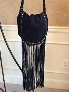 2c2425bd5f ECOTE Blk Suede Leather Fringe Stud Hobo Boho Hippie Crossbody ...