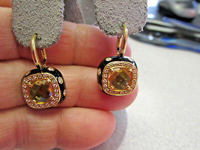 Spectacular  18K Faceted Citrine, Diamonds and Black Enamel Earrings  Make Offer
