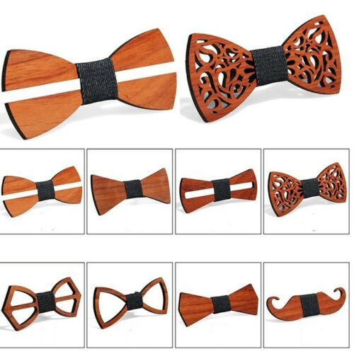 Herren Handgefertigt Holz Fliege Neuheit Hochzeit Tuxed Krawatte Trend cq