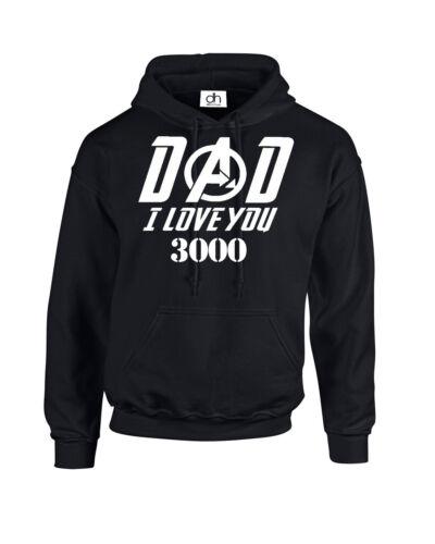 3000, Sweat à capuche Papa je t/'aime 3000 fête des pères papa capuche Tony Stark End Game