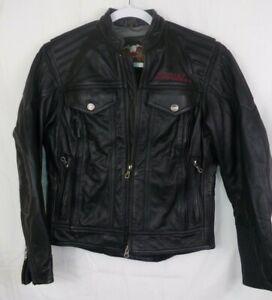 Harley-Davidson-Leather-Jacket-Black-Logo-Vents-Womens-XS