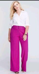 740d1881401 Lane Bryant Lena 22 Reg 3X Fushia Magenta Pink Wide Leg Trouser ...