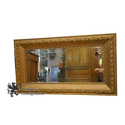 "Beautiful Early 20th Century Antique Gilt Wall Hanging Beveled Mirror 50"" x 28"""