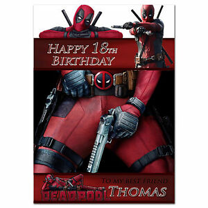 054 personalised birthday card deadpool for any age name image is loading 054 personalised birthday card deadpool for any age bookmarktalkfo Choice Image
