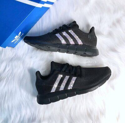 Adidas Swift Run Black customized with SWAROVSKI Crystals.   eBay