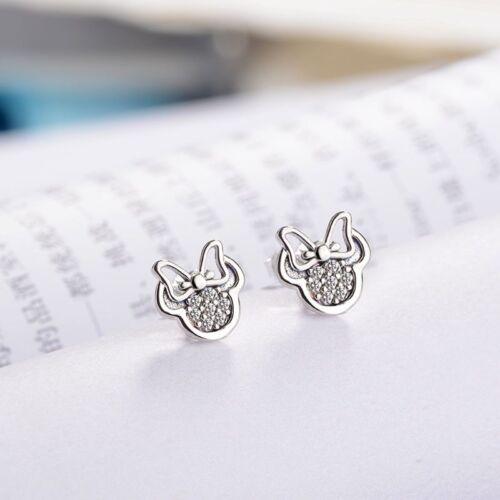 Mickey Minnie Mouse Silver Color Stud Boucle d/'Oreille pour Femmes Fille mousseux Rhineston