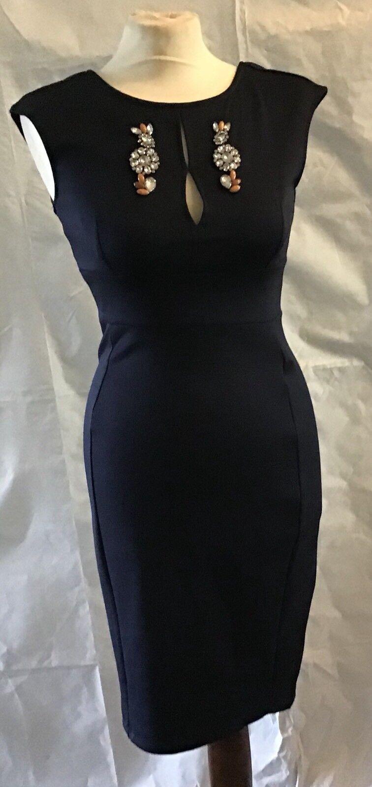 Zara W B Ladies Bodycon Beaded Detailed Navy bluee Dress Size Small