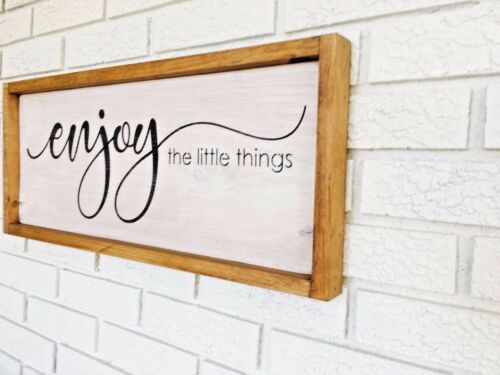 Happy Life Enjoy Sign Life Is Short Enjoy The Little Things Framed Wood Sign
