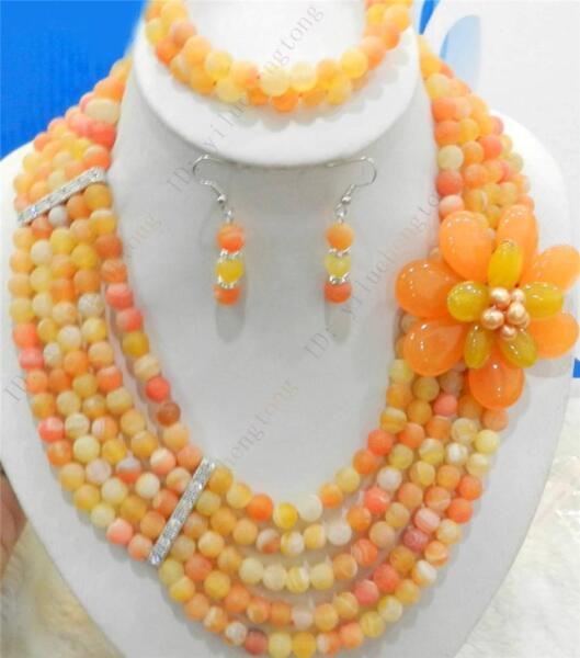 2 Rows Bracelet Gems Flower5 Rows Orange Dream Fire Dragon Veins Agate Necklace Rheuma Lindern
