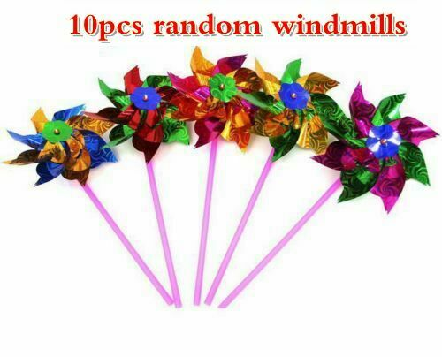 10 Pcs Plastic Windmill Pinwheel Wind Spinner Kids Toy Lawn Garden Party Decor