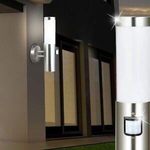 edelstahl wand leuchte au en licht mit bewegungsmelder sensor hof haus e27 lampe ebay. Black Bedroom Furniture Sets. Home Design Ideas