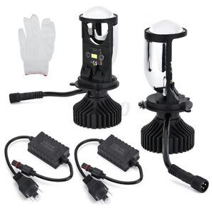 LHD-H4-Lampadina-Led-Con-Lente-Mini-Proiettore-Led-Kit-Di-Conversione-8000lm