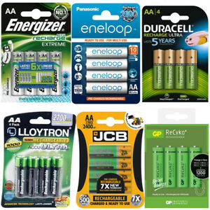 JCB-DURACELL-PANASONIC-ENERGIZER-LLOYTRON-RECHARGEABLE-BATTERIES-PRE-CHARGED-AA