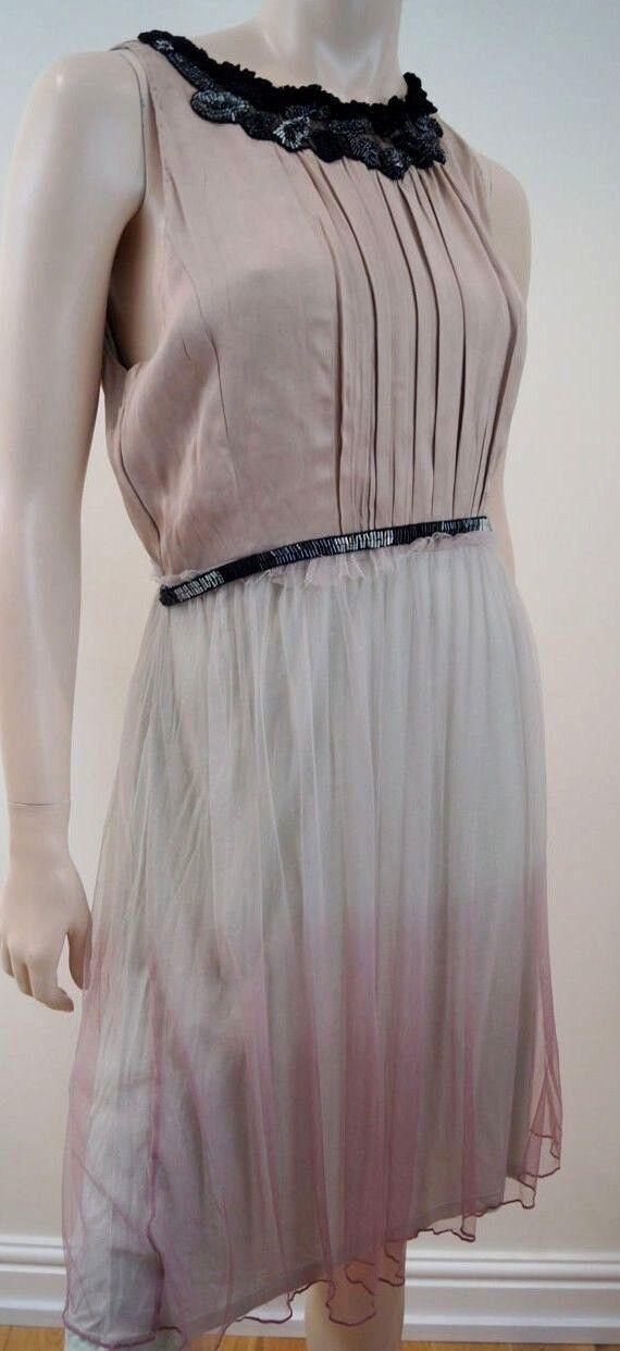 BLANK LONDON Beige Vert & Rose Ombre Netted jupe perles robe d'été L Bnwt