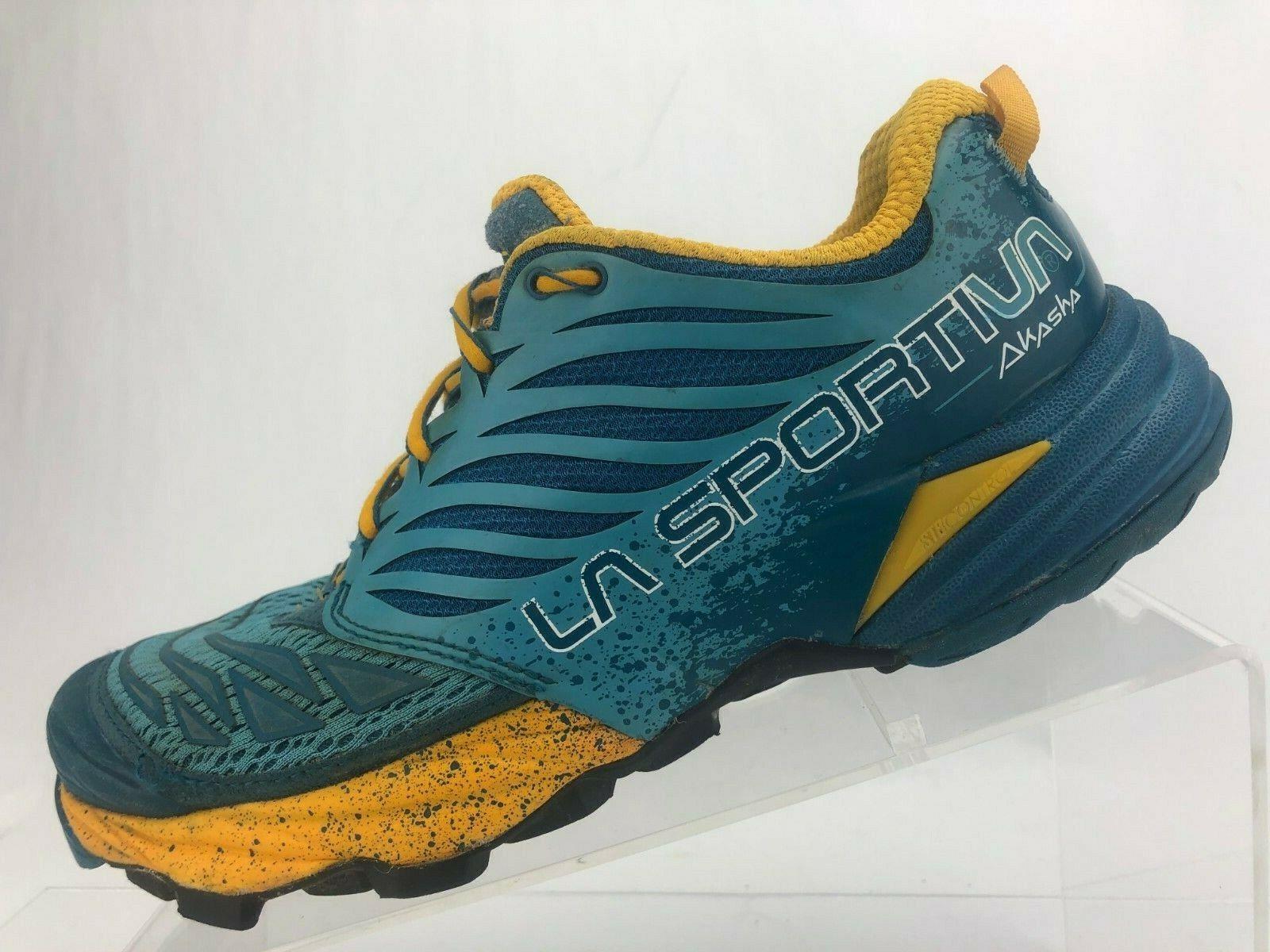 La Sportiva Akasha Montaña Zapatillas Azul Amarillo Ortholite Mujer EE. UU. 8.5