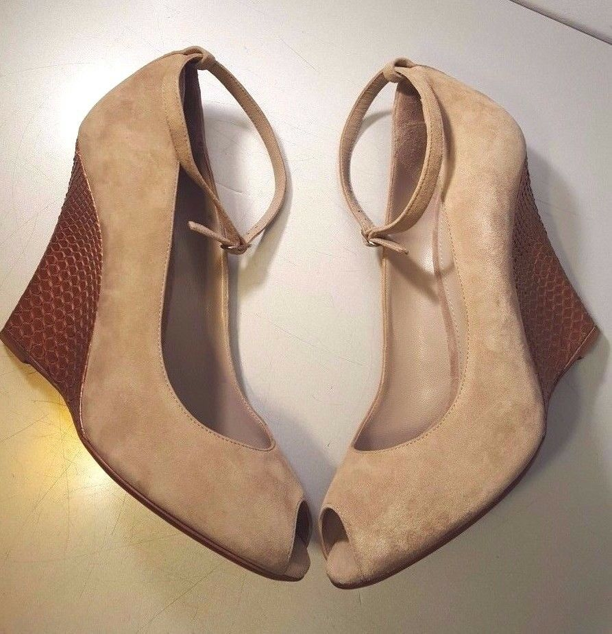RALPH LAUREN WEDGES COLLECTION WARAH KID-SUEDE & PYTHON SKIN BROWN WEDGES LAUREN MADE IN ITALY 36758d