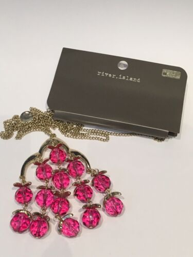 RIVER ISLAND LONG GOLD PINK BEADED NECKLACE BNWT