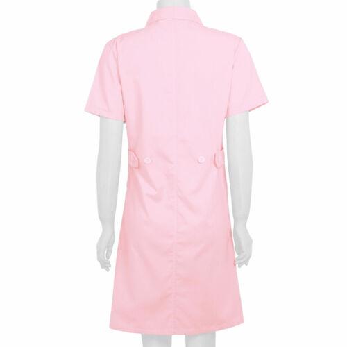 Womens Hospital Nurse Uniforms Dress Medical Lab Coats Short Sleeve Long Jackets