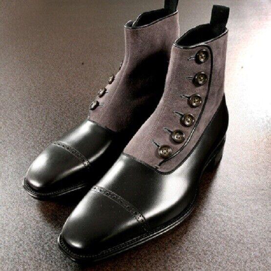 Homme Fait à la main BOTTES BICouleurES boutonné Cap Toe cheville Formal Wear Décontracté Chaussure Nouveau