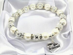 Details About Personalised Wedding Bracelet Bride Lots Of Charms To Choose Gift Box