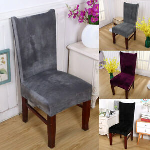 1 2 4 6pcs Soft Stretch Velvet Dining Chair Covers Room