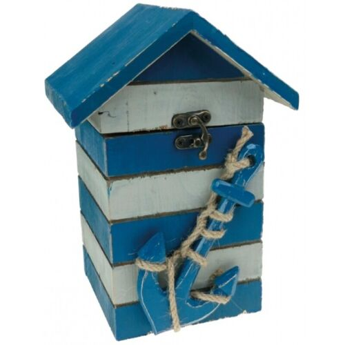 SHABBY CHIC DISTRESSED BLUE AND WHITE BEACH HUT TRINKET BOX ANCHOR NAUTICAL