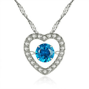 925-Sterling-Silver-Round-CZ-Lab-Blue-Topaz-Pendant-Heart-Style-Dancing-Necklace