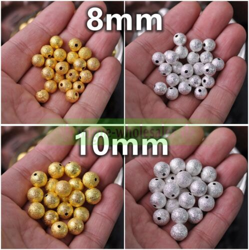 4mm//5mm//6mm//8mm//10mm Dull Polish Matte Brass Alloy Metal Loose Spacer Beads Gold
