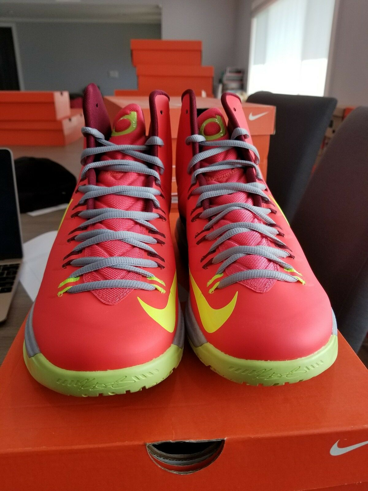 Nike Zoom KEVIN DURANT KD V 5 DMV CRIMSON orange VOLT WOLF GREY 554988-610 sz 10