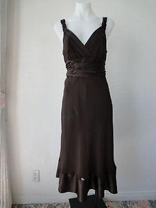 Calvin Klein 100% Silk Chocolate Brown Cocktail Dress Size 6 ...