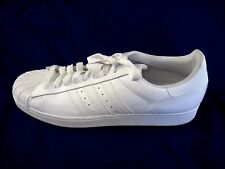 Adidas white leather athletic sneakers mens lotops tennis shoes sz 17D 2013