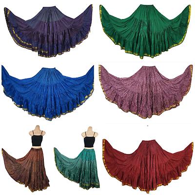 Boho Gypsy Hippie Maxi Skirt Printed Silk Sari Ethnic Long Tribal Belly Dance