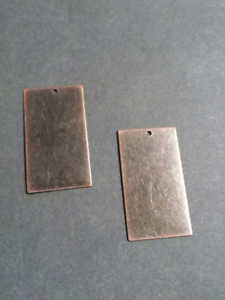 25 BULK Metal Stamping Blanks Antiqued Copper Rectangle Pendants Brass Blanks