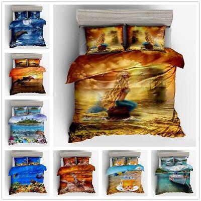 3D Sea Animal Kids Bedding Set Mermaid Duvet Cover Sets Quilt Cover Pillow Case