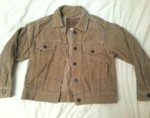 GAP-100-Cotton-Short-Cropped-Tan-Brown-Jacket-Corduroy-Style-Small-32-034-Chest