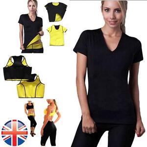UK-Seller-Women-Neoprene-Body-Shapers-Slimming-Yoga-Vest-T-Shirt-Belt-Pants