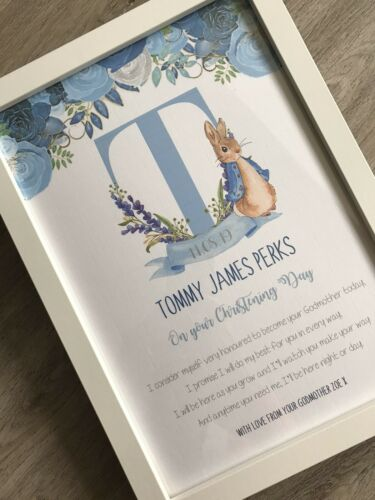 Personalised Peter Rabbit Godson Keepsake Gift Print Godparent Christening Gift