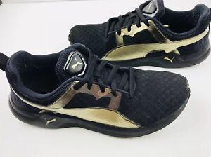 Puma Gold Logo Black Womens Mesh Training Sport Shoes Sz US 7.5 EU ... f41b7577f