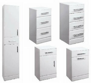 Image Is Loading Bathroom Vanity Accessory Units White Gloss Cupboard Drawer