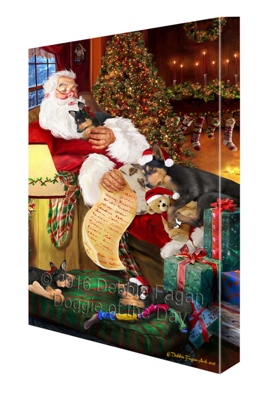Happy Holidays Santa Sleeping Australian Kelpie Dogs Christmas Canvas Wall Art